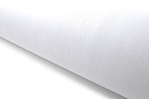 Wood Pattern Texture Interior Film Vinyl Self Adhesive Peel-Stick Removable (VBS841(White))