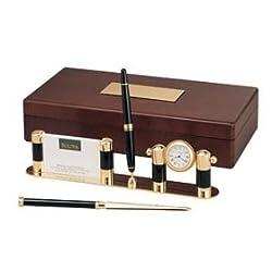 Bulova Executive Collection Wood Box with Penset Desk Clock # B7239