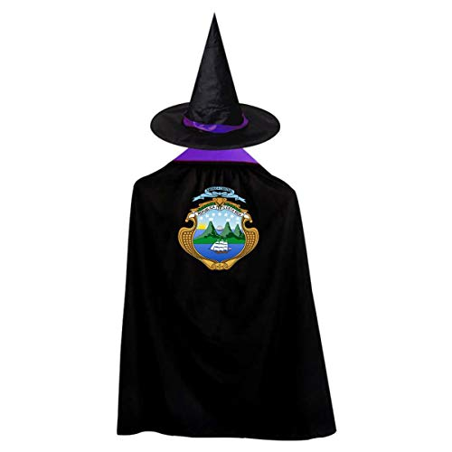 Costa Rica Badge Sailboat Sea Flag Witch Wizard Cloak Cape With Hat Halloween Costumes For Girls Boys]()