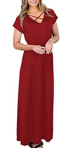 Donna Colore Elegante Moda Di Estivi Lungo V Neck Manica Elastico Winered  Base Corta Vita Con In Abito ... 5f89693fea9