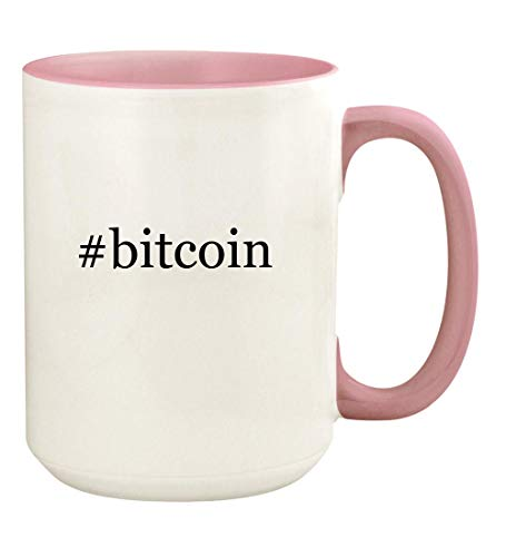 #bitcoin - 15oz Hashtag Ceramic Colored Handle and Inside Coffee Mug Cup, Pink