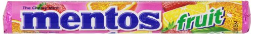 Mentos Chewy Mint Candy Roll, Fruit, Party, Non Melting, 1.32 ounce/14 Pieces (Pack of 15) by Mentos