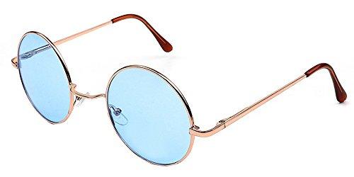 Goggles Bleu KINDOYO rond Femmes pour hommes qualité Punk Lunettes rétro UV400 Or Steampunk Cyber soleil de YZZtr