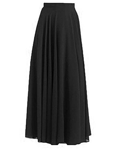 Ferbia Women's Rayon Spandex High waist Shirring Maxi Skirt Solid Color Long Skirts, Black, Large