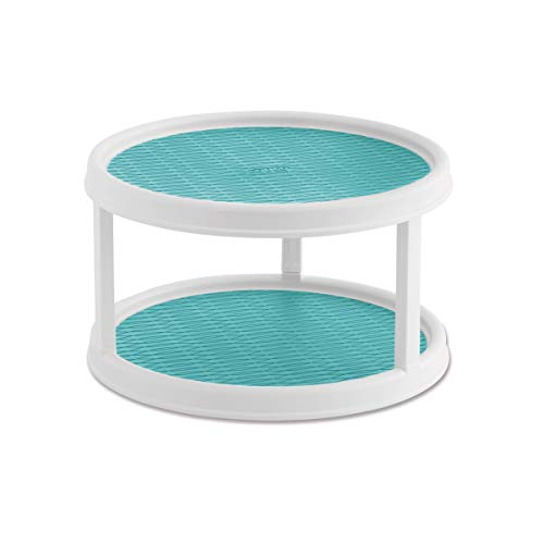Copco 5234758 Non-Skid Pantry Cabinet 2-Tier Lazy Susan Turntable 12-Inch White/Aqua