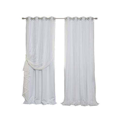 Best Home Fashion uMIXm Mix and Match Tulle Sheer Lace and Blackout 4 Piece Curtain Set – Stainless Steel Nickel Grommet Top – Vapor – 52