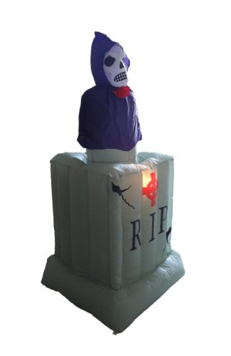 BZB Goods 6 Foot Animated Halloween Inflatable Grim Reaper in Tombstone with Rise and Fall Animation -