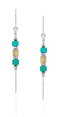 - Two Tone 925 Sterling Silver and Gold Plated Turquoise Dangle Earrings Chic & Stylish Women's Jewelry