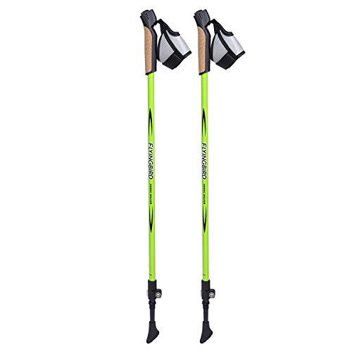 1 Pair of FLYINGBIRD Ultralight Adjustable 50% Carbon Fiber Hiking Pole Walking Stick (Green)