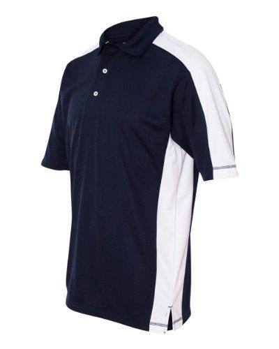 FeatherLite v Men's 0465 Colorblocked Moisture Free Mesh Short Sleeve Sport Polo Shirt (3X-Large, Navy/White)