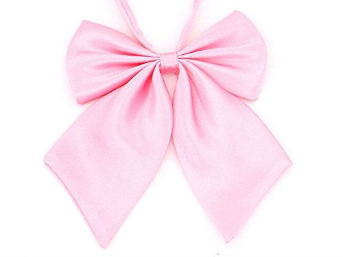 (AKOAK Adjustable Pre-tied Bow Tie Solid Color Bowties for Women ties,Pink)