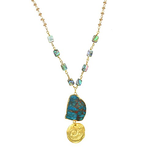 Gold Rimmed Ocean Jasper with Mermaid Disk and Abalone Beaded Chain - Pendant Necklace - Gold Finish Medallion Necklace
