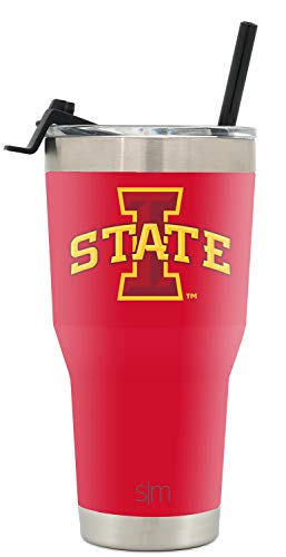(Simple Modern Iowa State University 30oz Cruiser Tumbler with Straw & Flip Lid - Vacuum Insulated Stainless Steel Travel Mug - Tailgating Cup College)