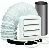 Dundas Jafine EXWTZW Bathroom Fan Vent Kit with, Wall Style 4 inch x 5' Vinyl Duct