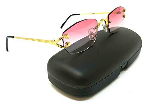 Savant Slim Rimless Geometric/Oval Luxury Sunglasses (Gold Metallic Frame w/Black Ear Pieces & Case, Pink ()