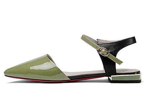 Flat In Verde Bottoni Colore Pumps Sandali Verniciata Pumps In Da In Green Pelle Velcro Piatti 35 Con Donna Pelle caCqfAW