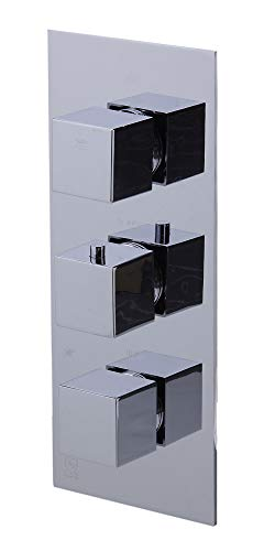 ALFI brand AB2801 Concealed 3-Way Thermostatic Valve Shower Mixer Square Knobs, Polished Chrome