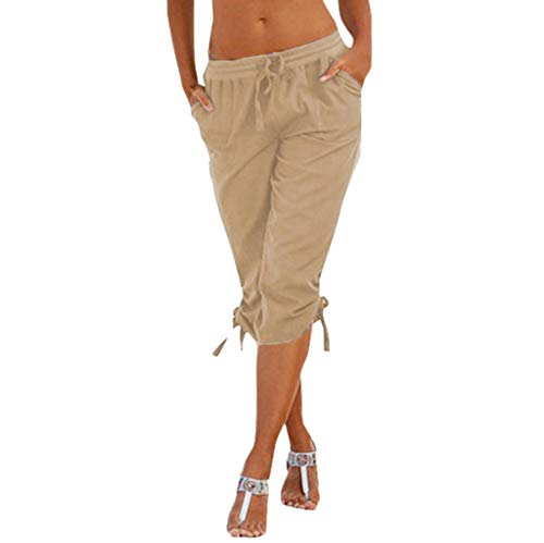 F_topbu Casual Pants for Women Elastic Waist Solid Color Elastic Waist Pockets Knee Length Pants Bottoms Khaki