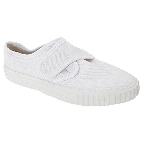 Dek Kids - Zapatillas Unisex de tela blancas de cierre adhesivo para niños/jóvenes Blanco