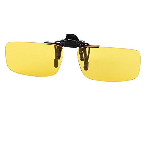 conducción clip Amarillo en lente visión rebordes de Rectángulo Claro Gafas la sin nocturna SqPg4