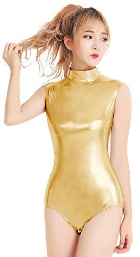 Speerise Adult Shiny Metallic One Pieces Turtleneck Dance Leotard Bodysuit Costume, XXL, -