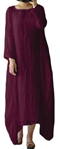 Cromoncent Linge De Femmes Casual Manches Longues Irrégulière Robes Maxi Swing Ras Du Cou Claret