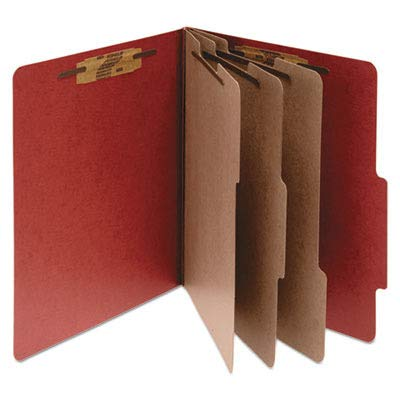 ACCO 15038 ACCO Pressboard 20-Point Classification Folder, LTR, 6-Section, Earth Red, 10/Bx