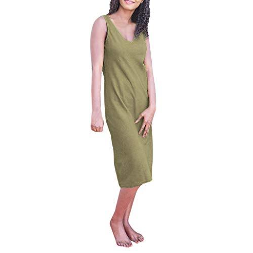 (Dress for Womens Summer V Neck Plain Vintage Sleeveless Casual Dress Slim Beach Party Wedding A Line Dress Green)