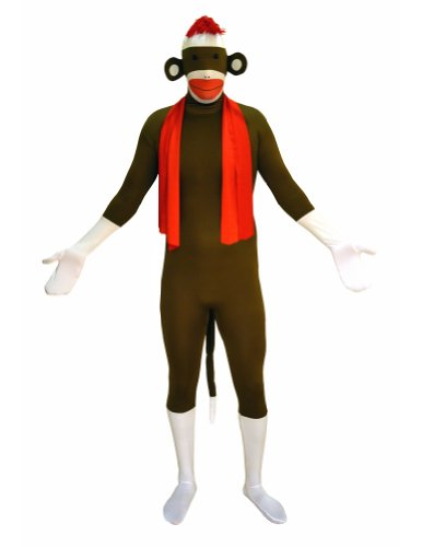 Sock Monkey Costume Amazon (SecondSkin Men's Full Body Spandex/Lycra Suit, Sock Monkey, Kids L)