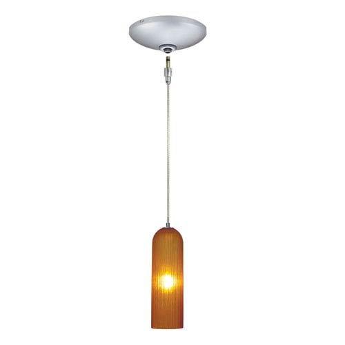 Amber Jesco Lighting KIT-QAP411-AMSN 1-Light Low Voltage Pendant and Canopy Kit with Satin Nickel Socket