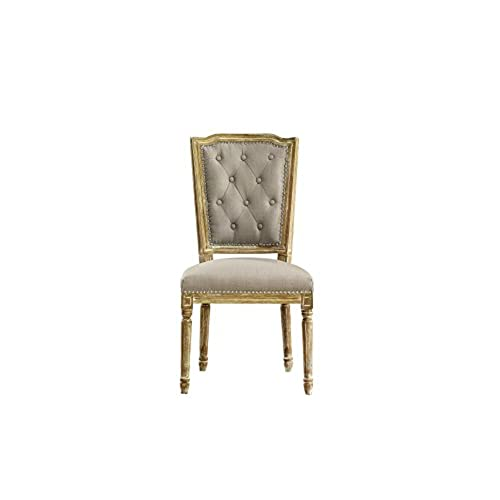 Baxton Studio Estelle Shabby Chic Rustic French Country Cottage Weathered  Oak Linen Button Tufted Upholstered Dining Chair, Medium, Beige