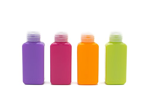 Lingito Travel Bottles Set (4 Pcs) Multi-Color Pack   Portable & 100% Leak Proof Refillable Toiletry Containers   Squeezable Tubes for Shampoo, Conditioner & Liquids   TSA-Approved