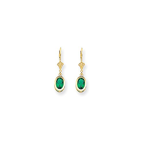 (Perfect Jewelry Gift 14k 7x5mm Oval Mount St. Helens Leverback Earrings )
