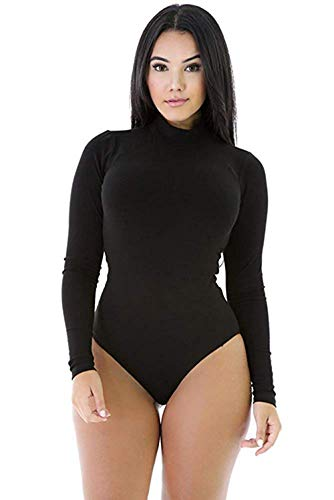 (Women High Neck Top Bodysuit Long Sleeve Bodycon Romper Solid Thong Leotard M Black)