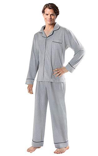PajamaGram Men's Pajamas Sets Cotton - Men Pajamas, Heather Gray, - Comfy Pant Set Knit