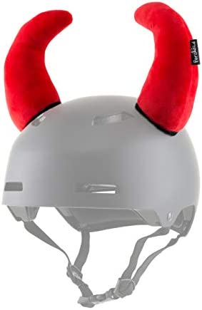 Parawild Bison Helmet Accessories w Sticky Hook Loop Fastener Adhesive Helmet not Included , Fun Red Devil Helmet Horns Ears Covers for Snowboarding, Skiing, Biking, Cycling for Kids and Adults