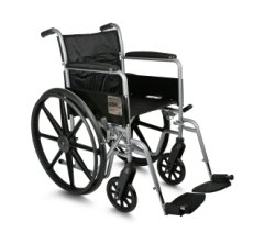 "Medline K1 Wheelchair with Full-Length Arms and Swing-away Footrests for Easy Transfers, 18"" Seat"