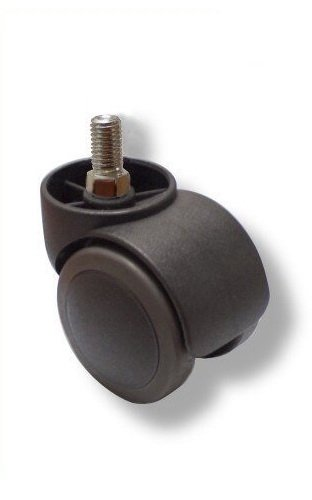 hjh OFFICE, 619007, Castors, Wheels for office, executive chairs, ROLO, black, , Set of 5 x special castors for hard floors M10 pin, 50 mm diameter wheel e.g. parquet, laminate, tile or stone floor, braked saftey, casters