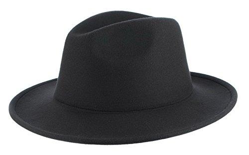 (Gemvie Men's Warm Wool Blend Dent Trilby Flat Brim Fedora Hat)