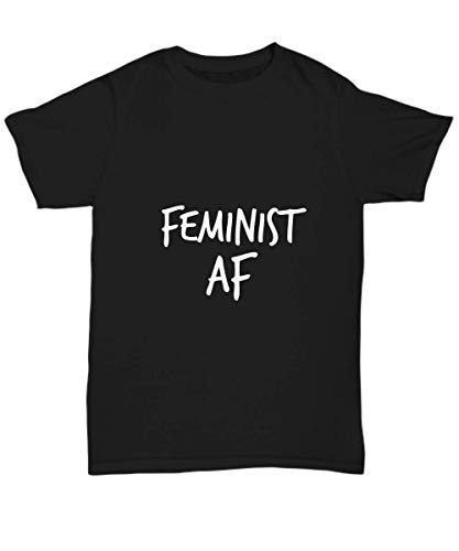 Yesecart Feminist Af - Support T Shirts for Women Black Tee Feminism Tshirt, Women Power Shirt Sayings - Unisex Tee