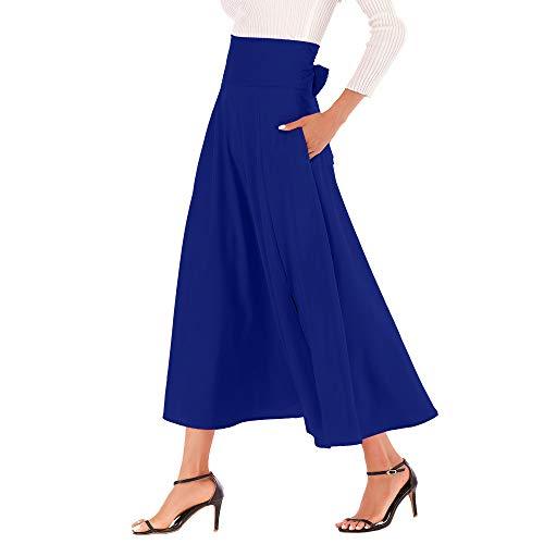 Women Long Skirt High Waist Solid Color A Line Casual Slit Belted Maxi Skirt (M, Blue)