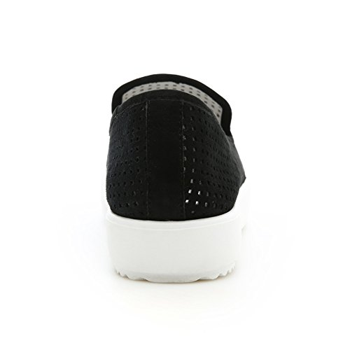 Minivog Deux Tons Femmes En Cuir Maille Plates Chaussures Noir