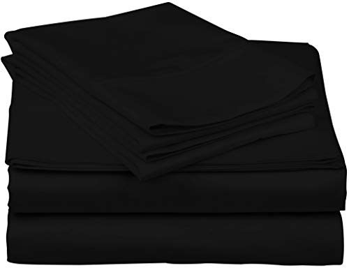 (True Luxury 1000-Thread-Count 100% Egyptian Cotton Bed Sheets, 4-Pc Queen Black Sheet Set, Single Ply Long-Staple Yarns, Sateen Weave, Fits Mattress Upto 18'' Deep)