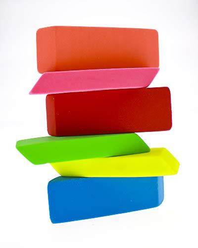 Neliblu Premium Pencil Erasers Bright Neon Chiseled Erasers 6 Pack ()