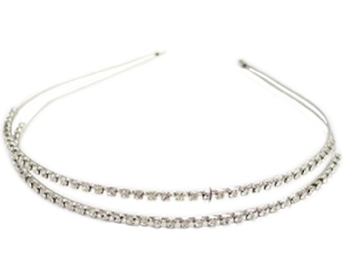 BONAMART Silver NEW ARRIVAL Double Rhinestone Crystal Handcraft Girl Women Bow-knot Hair Hairband Hair Band Headband Accessories