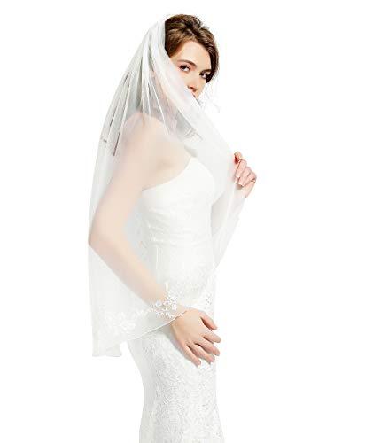 "Wedding Bridal Veil with Comb 1 Tier Pencil Lace Applique Edge Fingertip Length 40"" V81 Ivory"