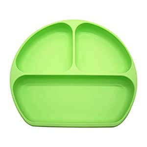 Silicone Suction Plate - Grip Dish with Divided Toddler Plates - Fits High Chair and Table for Toddlers Children Babies (Green)