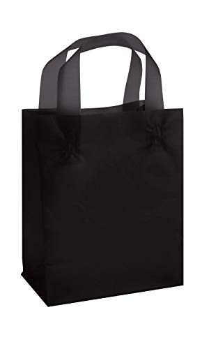 - SSWBasics Medium Black Frosted Plastic Shopping Bags - 8