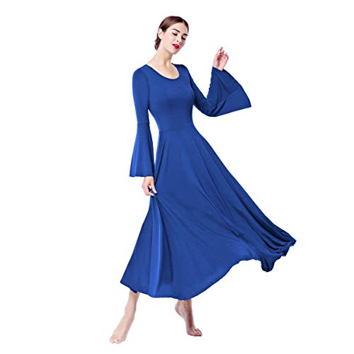 Women's Bell Long Sleeve Liturgical Praise Dance Dress Loose Fit Christian Floor Length Worship Costume Church Maxi Swing Dress Pullover Ruffle Tunic Circle Skirt Summer Ballet Dancewear Royal XL