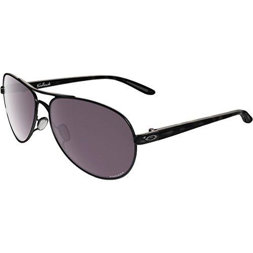 Oakley Women's Feedback Polarized Iridium Aviator Sunglasses, Polished Black, 59.01 - Black Iridium Oo Polarized
